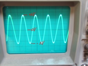 Alternating Current Speaker Drive wave Form Shown on Oscilloscope